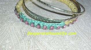 Color Block Crochet Rhinestone Bangle {DIY}