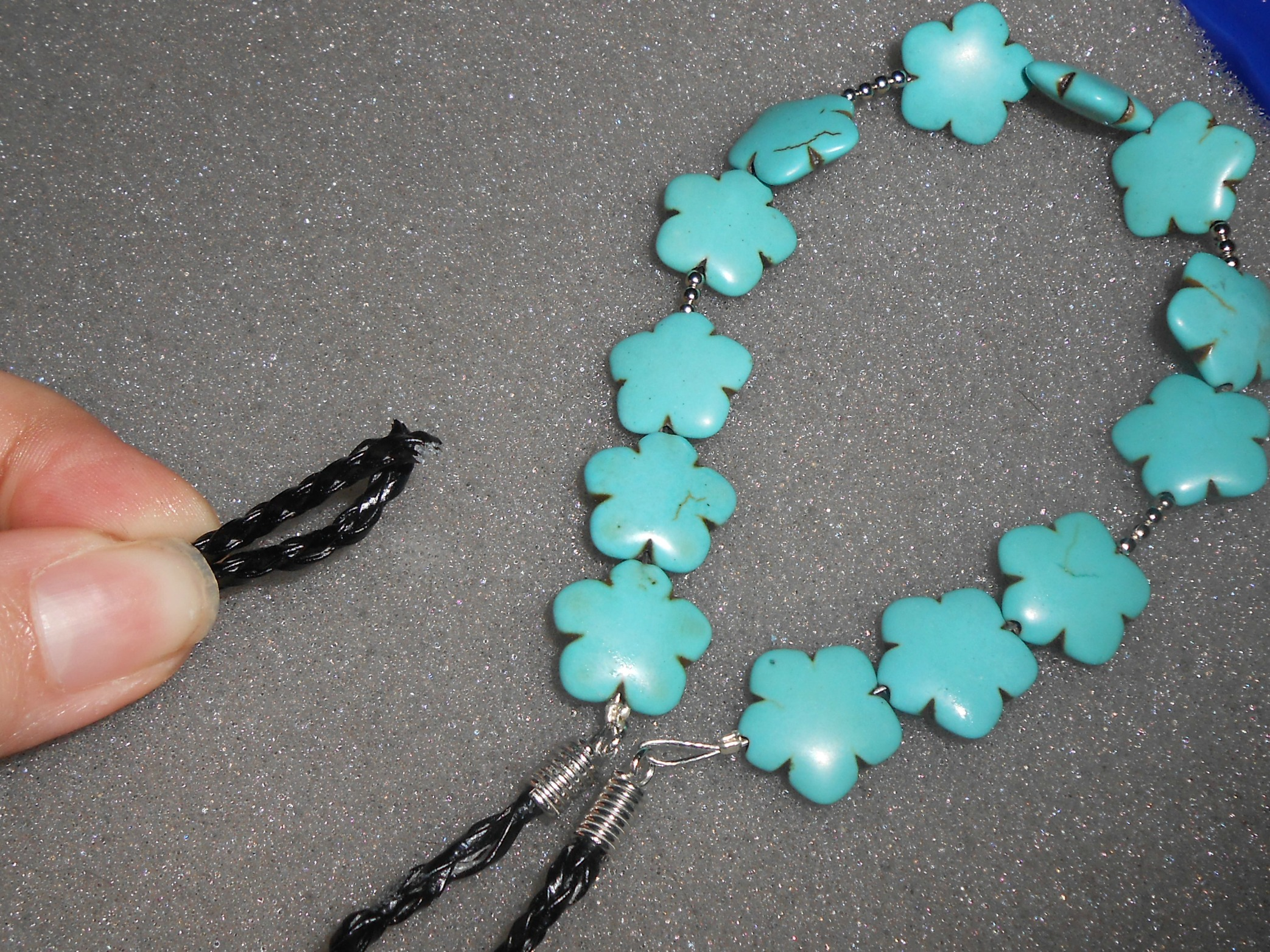 Diy turquoise statement necklace tutorial 7