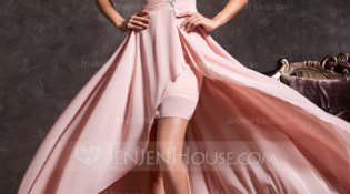 A-Line/Princess Sweetheart Asymmetrical Chiffon Prom Dress With Ruffle Beading  Photo Credit: JenJenHouse
